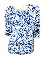 3/4 Sleeve Stretch Casual Geometric Tops & Shirts for Women