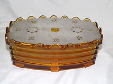 Vintage Golden Amber Glass REA Bruxelles Chafing Warmer with Tea Light Votive Ca