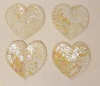 """Lot of 4 Vintage Small 2"""" White Heart Beaded Sequined Appliques Sew On Crafts"""