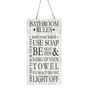 Black and White Vertical Bathroom Rules Printed Handmade Wood Sign