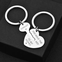 Cy_ 2Pcs You Hold The Key To My Heart Forever Keychain Keyring Couple Gift Great