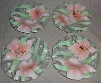 Set (4) Sydenstricker FUSED ART GLASS Pink Florals BOWLS - Nice!