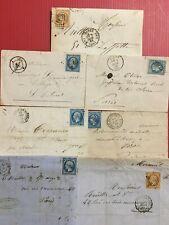 7 timbres Nap III sur lettres , enveloppes 5 20c bleu,2 10c paille 1862,69 58,61