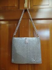 Whiting & Davis Co.Brushed Aluminum Mesh Tile Silver Metallic Purse Handbag EUC