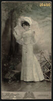 elegant woman w parasol, by Stefania, Hand painted Cabinet Card, 1900's Szeged