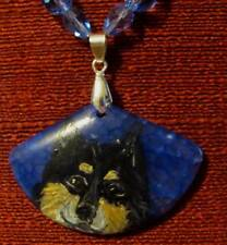 Finnish Lapphund hand painted on blue wedge shaped pendant/bead/necklace