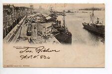 CANADA carte postale ancienne MONTREAL port bateaux train