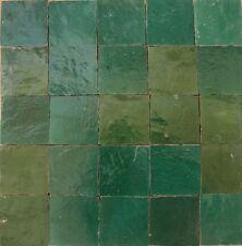 0,20m² Zellige Tonfliesen gebrannte Dekor Cotto Fliese 10x10cm perlgrün glasiert