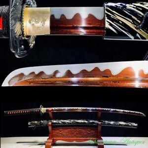 Damascus Steel Japanese Carving Dragon Katana Ronin Samurai Sword Sharp #2633