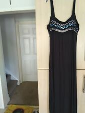 Ladies stretch long black sequin party/evening dress size 18 Monsoon branded vgc