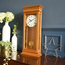 London Clock Company Tall Oak Wood Finish Pendulum Wall Clock 25073