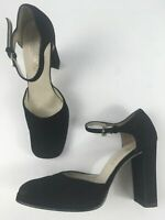 WOMENS JONES BOOTMAKER BLACK SUEDE ANKLE STRAP HIGH BLOCK HEEL SHOES UK 5 EU 38