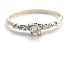 Vintage Diamond Engagement Ring 14k White & Yellow Gold 20 Points Size 11