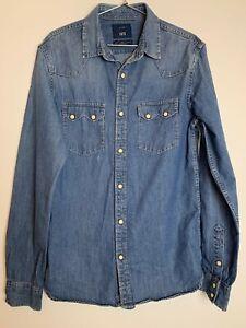 Zara 1975 Blue Cotton Female Denim Shirt Size S