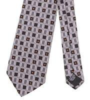 Hugo Boss Made in ITALY Black White Square Geometric Woven Silk Tie
