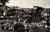 Pottenstein fränkische Schweiz alte Ansichtskarte 1964 Gesamtansicht mit Schloss