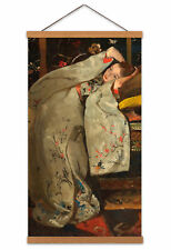 Breitner Girl In A White Kimono Painting Canvas Wall Art Print Hanger 24X12 In