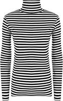 Women Ladies Monochrome Striped Black & White Print Polo Sweater Cowl Neck Top
