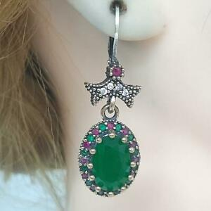 Deco 8.00ctw Emerald, Ruby & Diamond Cut Sapphire 14K Yellow Gold 925 Earrings