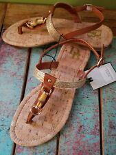 NEW NWT Dana Buchman gladiator strappy hippie faux leather bamboo tan gold