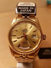 "Orient President ""Oyster"" Classic Automatic Sapphire Gold Dial Watch Japan"
