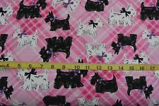 Black & White Scottish Terrier Scotty Dogs Pink Plaid Cotton Flannel Fabric BTY