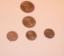 A selection of  Denmark Coins 1 x 1 Krone 1967, 1 x 25 1965, 3 x 10 Ore 1963/68.