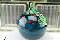 Dave Fetty DLF Glass Apple-Blue Green-Red King Tut Swirl-Fenton Collectibles