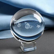 Boule de cristal 3D système solaire planètes boule en verre gravé Globe Miniatur