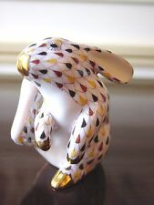 HEREND, SCRATCHING BUNNY / RABBIT FIGURINE, MOSAIC FISHNET, FLAWLESS RETAIL $450