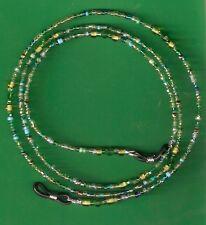 "Eyeglass Chain Handmade~Mixed Shades Green~Crystal Accents~28""~Buy 3 SHIP FREE"