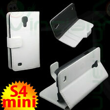 PELLICOLA+Custodia BIANCA pelle per Samsung Galaxy S4 MINI i9195 stand BOOKLET