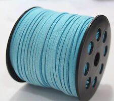 3mm Width Sequins Faux Suede Leather Thong Jewelry Necklace DIY Making Cord Blue 10 Yard