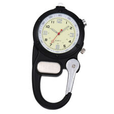 Mini Clip Watch Compact Analog Display Carabiner Watch Flashlight Black