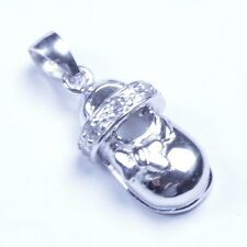 Genuine 925 Sterling Silver The Shoe CZ Pendant Sy37 USA Seller