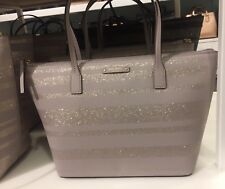 Authentic Kate Spade Haven Lane Hani Tote Glitter Stripe Nouveau Neutral Handbag
