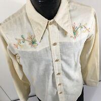 Vtg Impulse Embroidered 40's Style Cowboy Western HOPSACK WEAVE 50/50 Shirt L