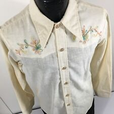 Vtg Impulse Embroidered 40's Style Cowboy Western Hopsack Weave 50/50 Shirt L