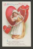 "[72497] OLD POSTCARD ARTIST SIGN ELLEN H CLAPSADDLE ""A GREETING to my VALENTINE"""