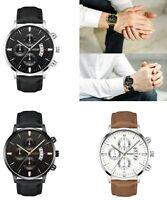 Herren Armbanduhr Silber Schwarz Braun Weiß Fashion Männer Quarz Luxus Business
