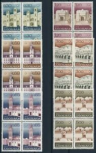 [P5724] Yougoslavia 1967 Monument good set in block of 4 stamps very fine MNH