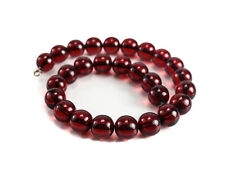 "Cherry Red Amber 15mm Beaded Necklace / 16"" length , 60.66 grams"