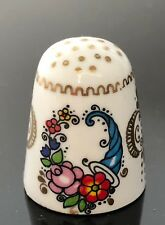 gorgeous THIMBLE COPPER & ENAMEL ARTA AUSTRIA floral horn of plenty vintage MINT