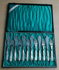 *RAR* Elegantes 12-tlg. Fischbesteck 835er Silber mit Perlmutt Holland ab 1888