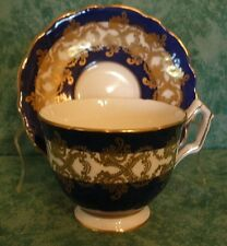 AYNSLEY BONE CHINA COBALT BLUE & GOLD PEDESTAL CUP & SAUCER SET~#1215~ENGLAND