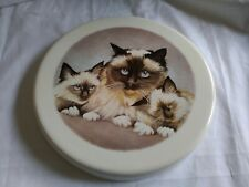"""Cat with 2  Kittens 9.75"""" Ceramic Stove Burner Cover, Or Wall-Hanging"""