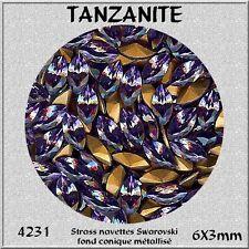 4231 6x3 TA *** 15  strass Swarovski NAVETTE FOND CONIQUE 6X3mm TANZANITE