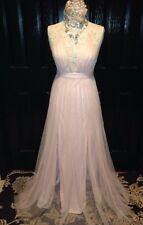 *AGACI*Ballet PINK TULLE FORMAL PLUNGE DRESS~PROM COCKTAIL PARTY PRINCESS~M 8 10