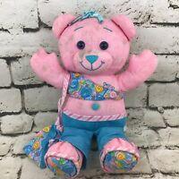 Doodle Bear Teddy Plush Pink Blue Happy Smiling Stuffed Animal Soft Toy Flaw