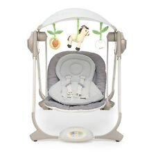 NEW Chico Polly Baby Swing Altalena Grey Cream Rocker Chair With Mobile & Music